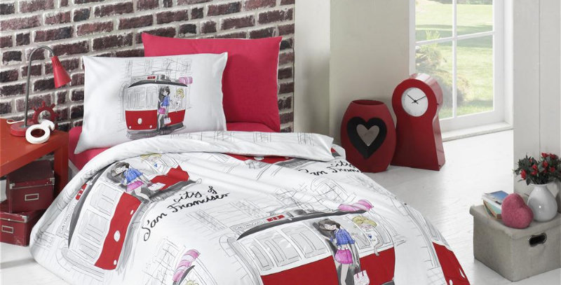 """San-Francisco-Red"" -  Ranforce Duvet Cover Set"