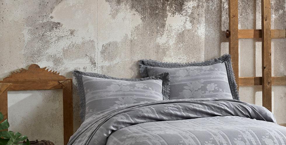 BELIZE Grey - Viscose Laced. Summer Cotton Quilt Set