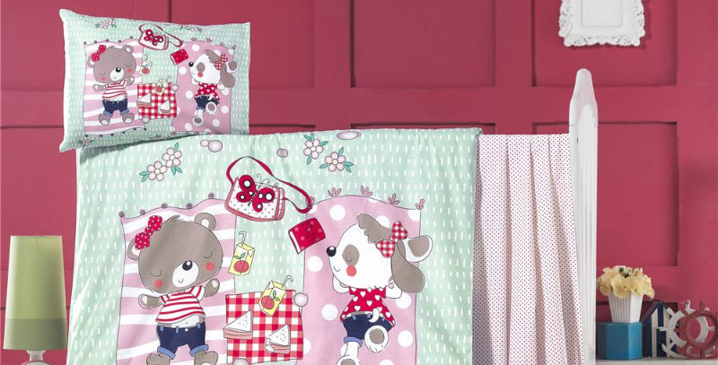 """Sleepy Friends"" - Quilt Cover Crib Set with Bumper"
