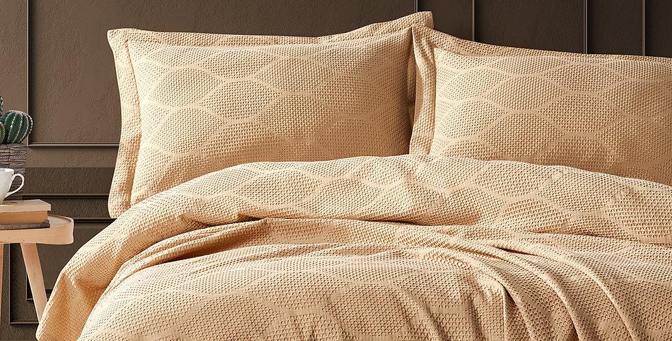 VERA Beige - Pique Satin Summer Cotton Quilt Set