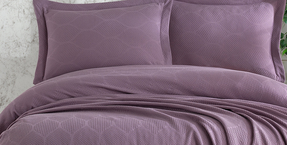 VERA Plum - Pique Satin Summer Cotton Quilt Set
