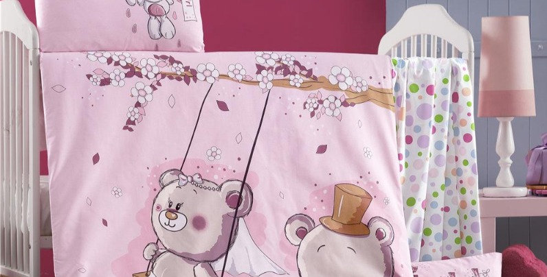 """Pink Dreams"" - Quilt Cover Crib Set with Bumper"