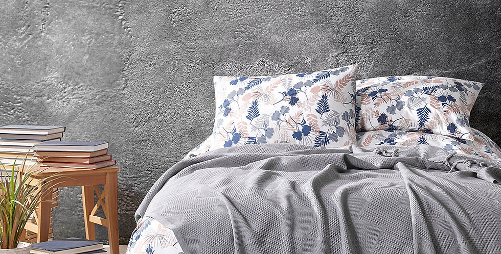 MONA Grey - Pique Cotton Quilt Set with Fringe
