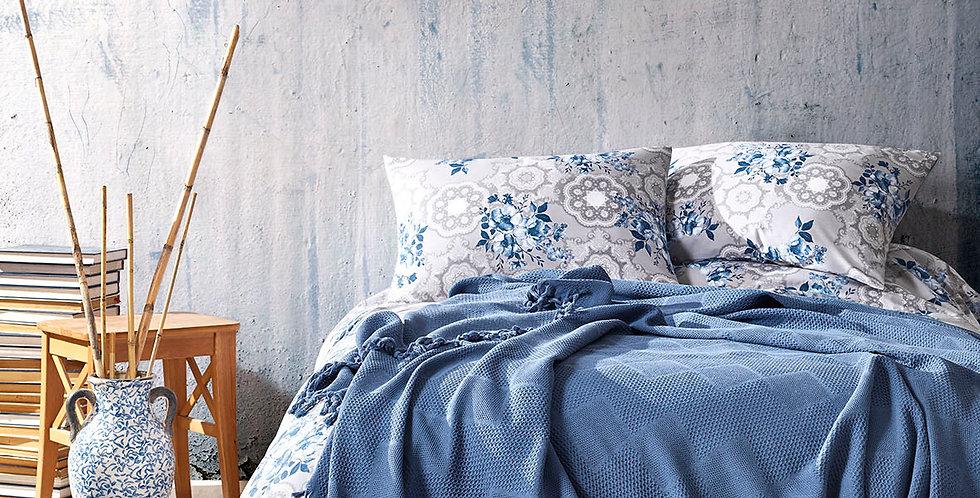MONA Blue - Pique Cotton Quilt Set with Fringe