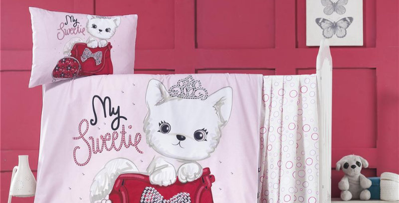"""Tiny Cat"" - Quilt Cover Crib Set with Bumper"