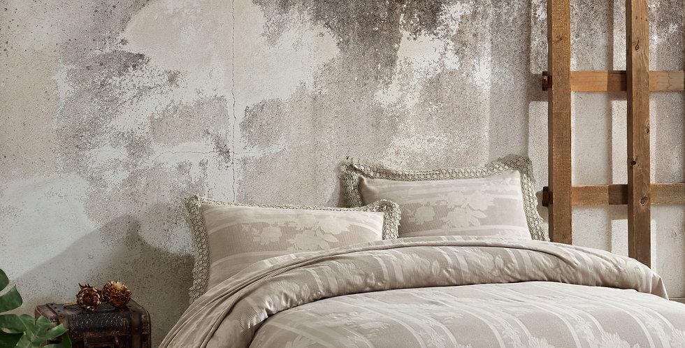 BELIZE Beige - Viscose Laced Pique. Summer Cotton Quilt Set