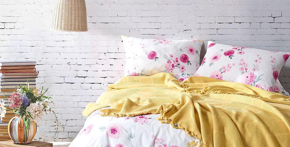 MONA Yellow - Pique Cotton Quilt Set with Fringe