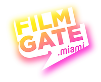 FilmGate.Miami logo in hot pink and neon yellow