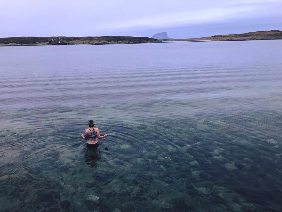 Post sauna dip in the Norwegian Sea. Photo by Moa Björnson