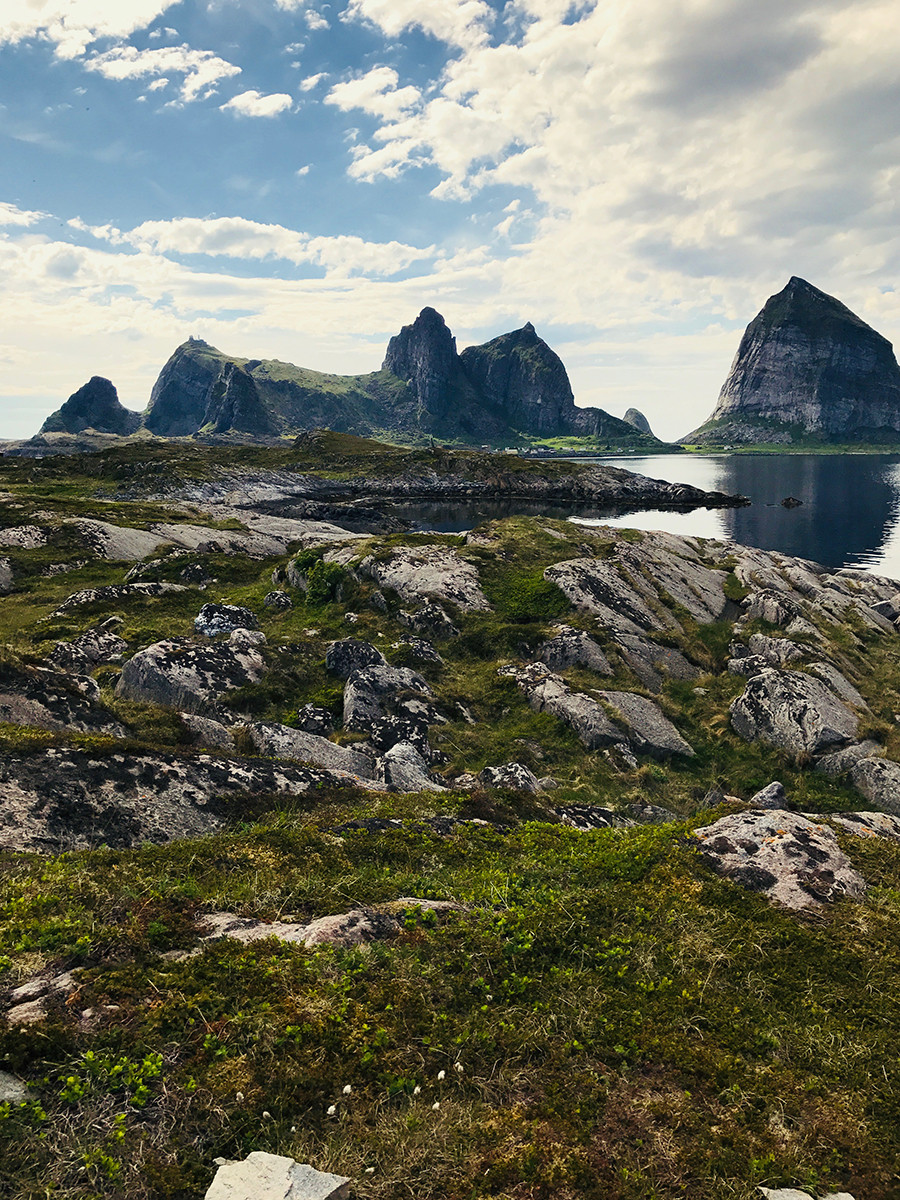 My view of Sanna from Husøya.  I called it Snoopy Island.