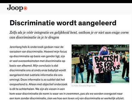 Discriminatie wordt aangeleerd