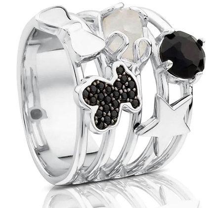 טבעת דובונים אבני חן