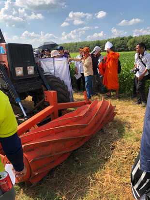 The tractor powered roller crimper is presented to stakeholders in Cambodia