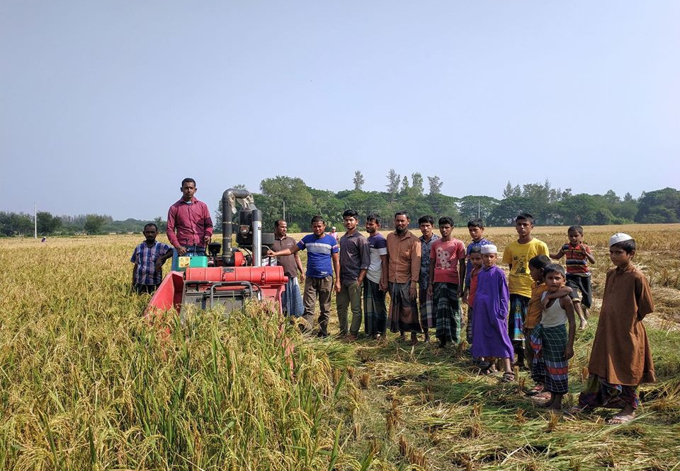 A demostration of the mini-combine harvester in Bangladesh