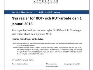 Nya regler för ROT- och RUT 2016, från Skatteverket