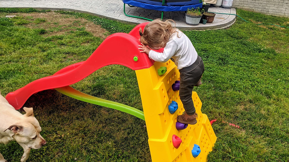 Toddler climbing a rock wall slide
