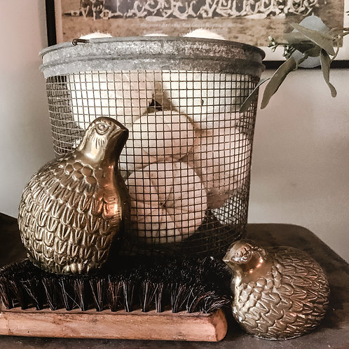 Vintage brass pair of partridges