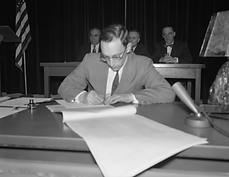 Vic signing Alaska constitution Feb 1956