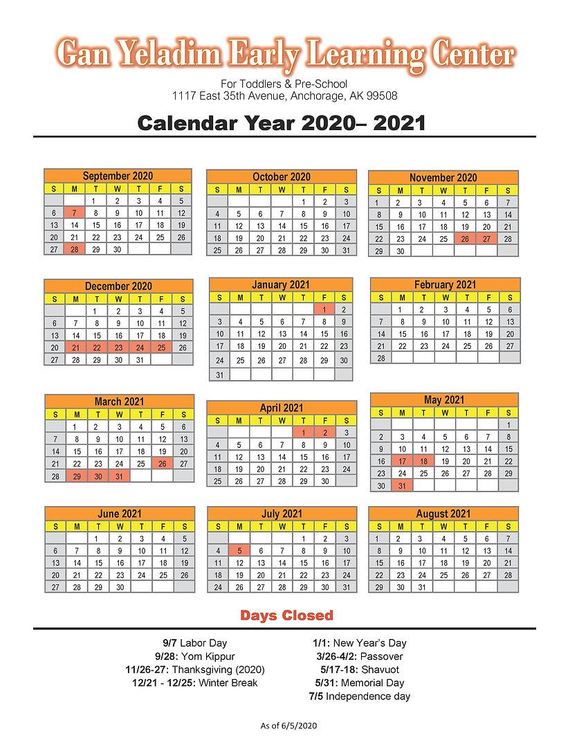 FINAL 2020-2021 Gan Yeladim v2 Calendar.