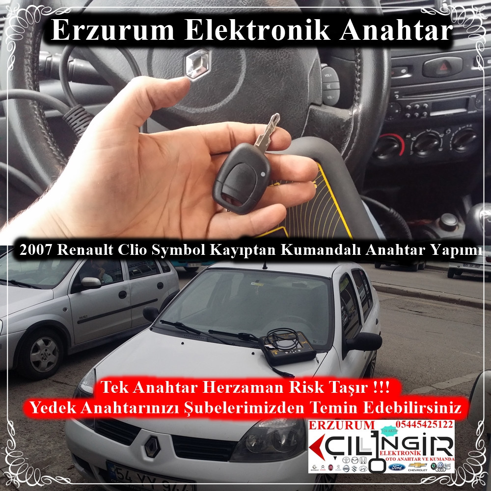 2007 Renault Clio Symbol Kayıptan Kumandalı Anahtar Yapımı