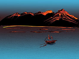 boat on water with mountains in background