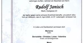 Wir gedenken unserem Mitglied und Unterstützer Rudi Janisch