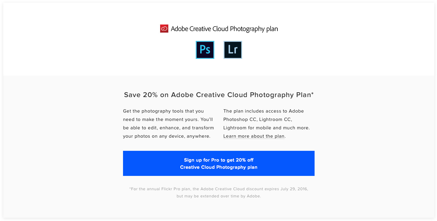 Adobe CC Non Pro Sign Up CTA