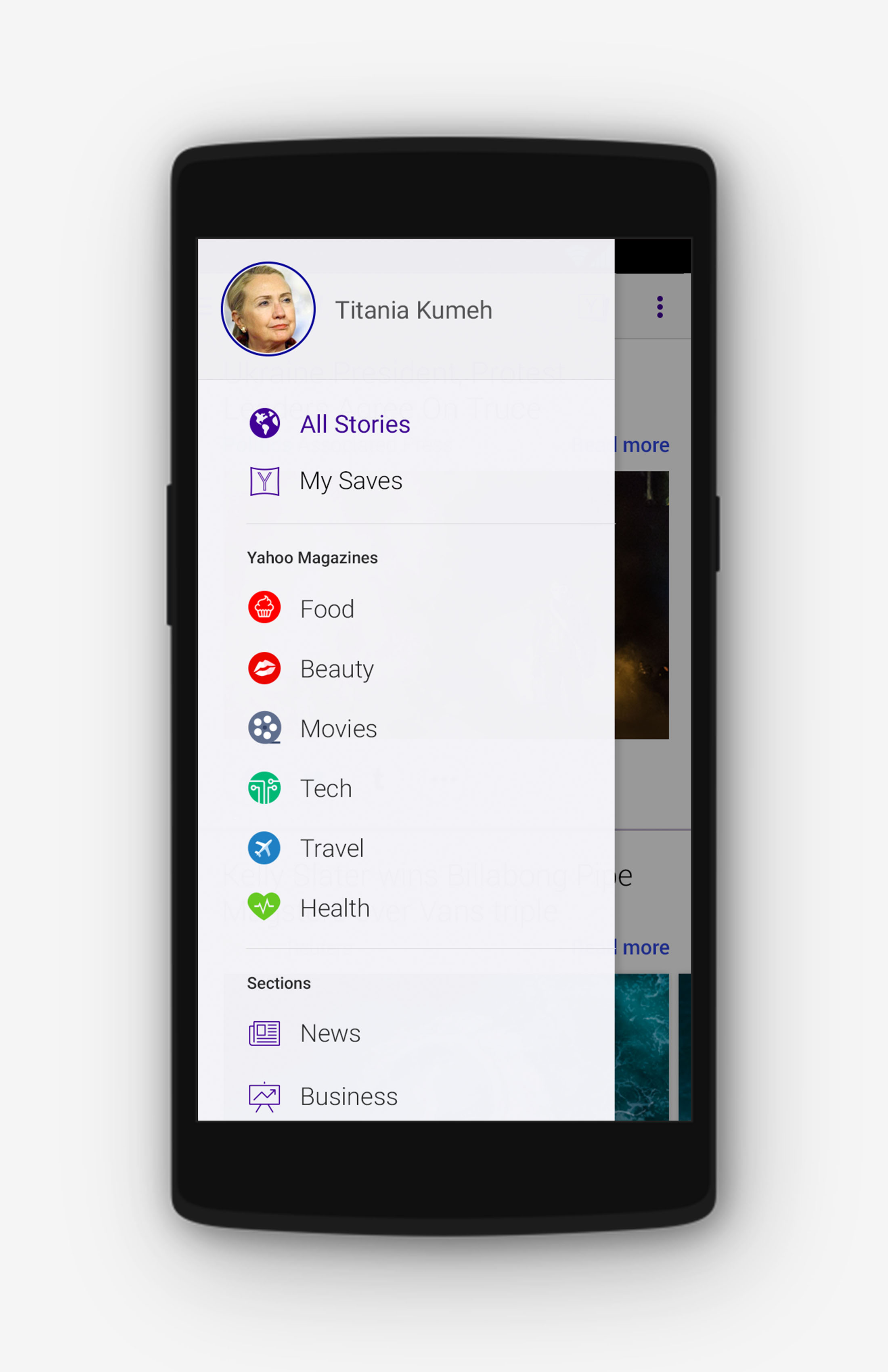 Yahoo Android Sidebar Improvements