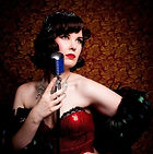 Canberra burlesque and performance artist Sparkles makes a hamburger at DIE FRINGE BURLESK