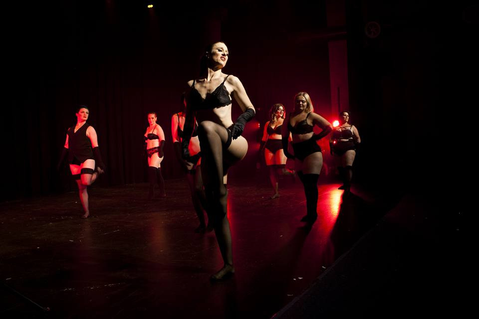 Sass and Tease Burlesque beginners perform in the 'Slow Hands' routine.
