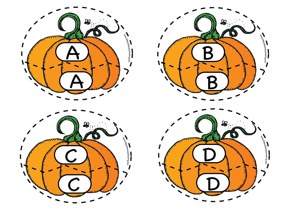 fall themed alphabet matching printable activity/ Life and Homeschooling