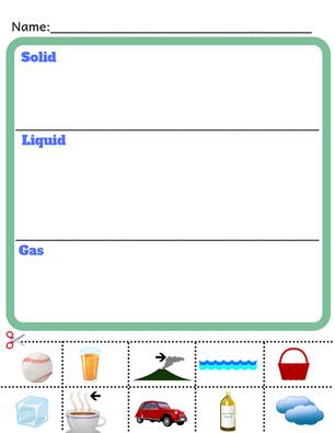Kindgerten Science Worksheet