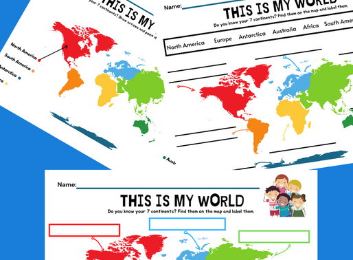 The 7 Continents Printable Activity Worksheets