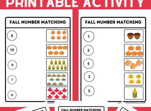 Fall Themed Number Matching Printable Activity Worksheets
