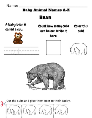 Baby Animal Names Worksheet (A-Z)