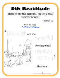 5th Beatitude verse tracing