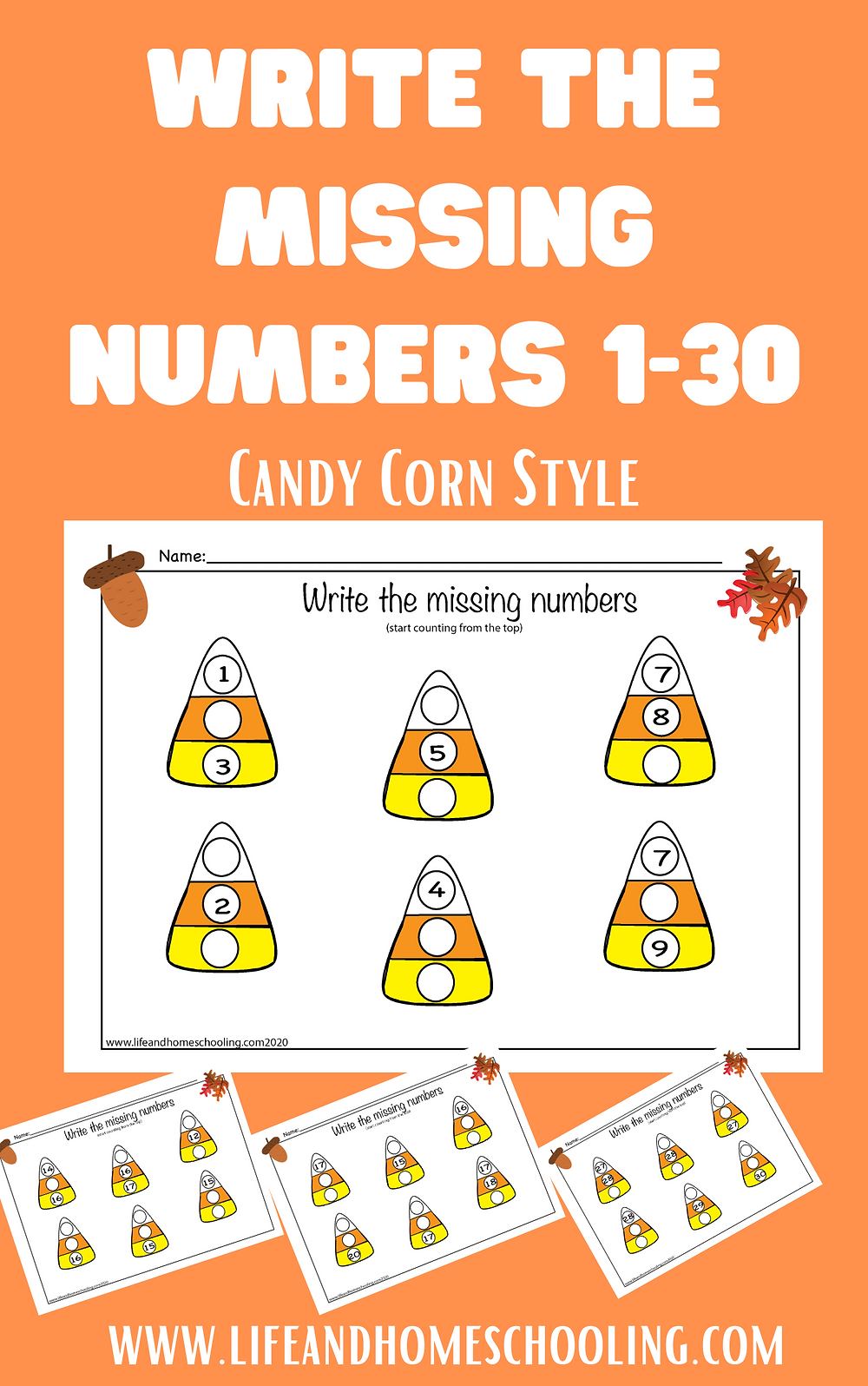 Fall themed write the missing numbers worksheets / Life and Homeschooling