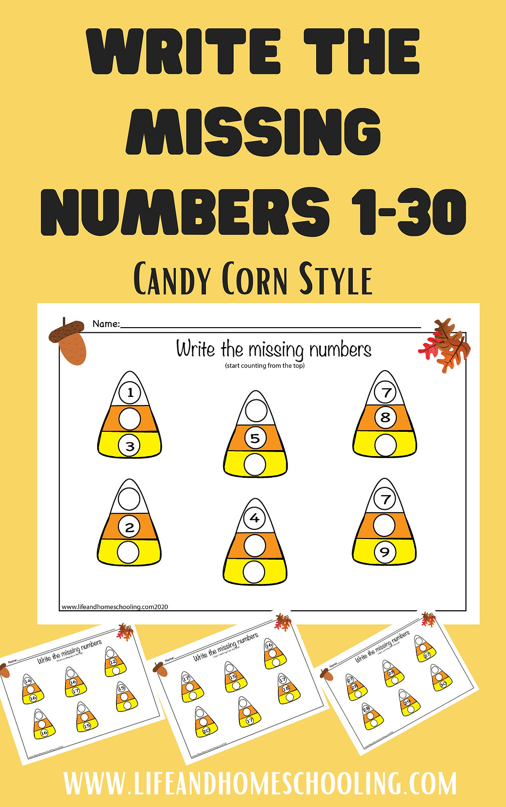 Write the missing numbers printable activity worksheets / Life and Homeschooling