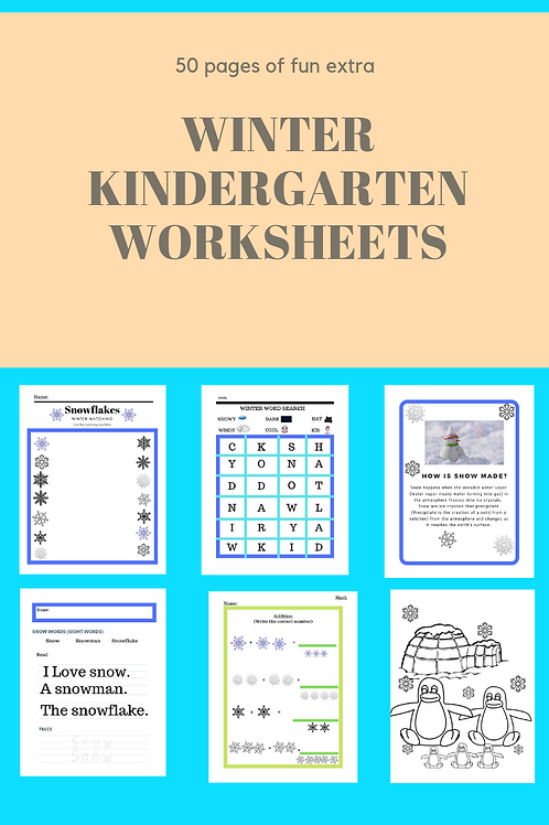 Winter Kindergarten Worsheets