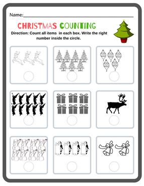 Kindergarten Christmas Counting Activity