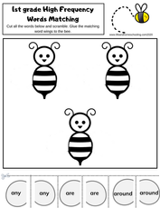 Bee Sight Word Matching