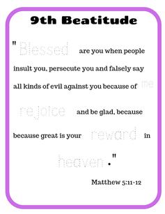 9th Beatitude verse tracing