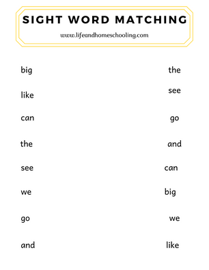 Free kindergarten sight words printable