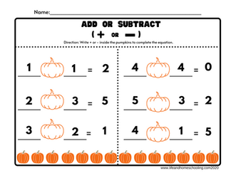 Add or Subtract Worksheets / Life and Homeschooling