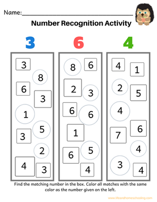 Number Recogntion (1-20)