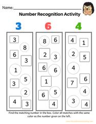 Preschool Math Number Recognition Activity