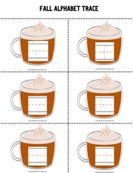 Fall Pumpkin Latte Alphabet Trace