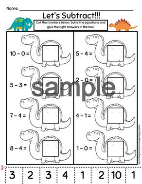 Kindergarten - 1st Grade Addition & Subtraction Printable Worksheet