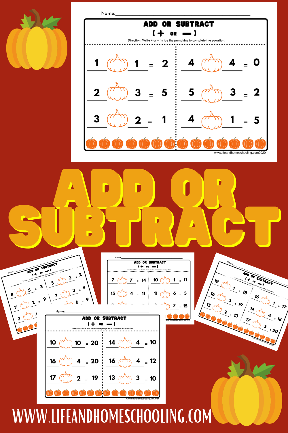 Free add or subtract printable worksheets / life and homeschooling
