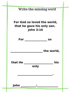 John 3:16 Sunday School Printable